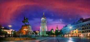 索菲娅广场在乌克兰的首都 免版税库存图片
