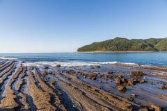 从菲尼斯的日南市海岸线,观点在宫崎,九州, 免版税图库摄影