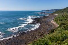 从菲尼斯的日南市海岸线,观点在宫崎,九州, 免版税库存照片