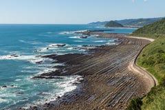 从菲尼斯的日南市海岸线,观点在宫崎,九州, 库存照片