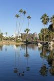 菲尼斯街市如被看见从Encanto Park湖, AZ 库存照片
