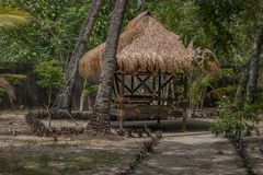 菲律宾海简陋小木屋 库存照片