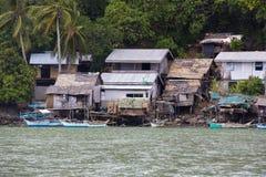 菲律宾渔村的居民的生活 库存照片