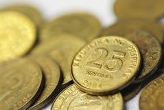 菲律宾25枚分的硬币 库存照片