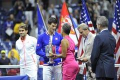 菲德勒&德约科维奇美国公开赛2015年(141) 免版税库存照片