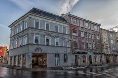 菲拉赫,奥地利,城市的中央部分的街道的 免版税库存照片