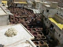 菲斯摩洛哥最旧的皮革厂世界 库存照片
