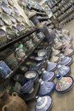 菲斯摩洛哥 闹事 蓝色摩洛哥陶瓷 免版税库存图片