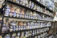 菲斯摩洛哥 闹事 蓝色摩洛哥陶瓷 库存照片