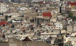 菲斯麦地那的房子看法在摩洛哥, 库存照片