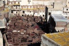 菲斯,摩洛哥皮革厂  库存图片
