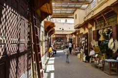 菲斯,摩洛哥, 2012年5月31日-日常生活在菲斯麦地那  免版税库存图片