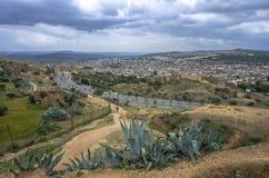 菲斯Fes中心,摩洛哥全景  免版税库存图片