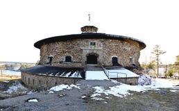 菲特列堡城堡,在斯德哥尔摩群岛被修造保卫入口到斯德哥尔摩在Värmdö的Oxdjupet 免版税库存图片