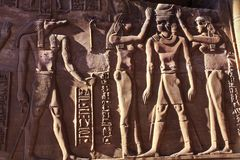 菲莱埃及墙壁上的坟茔绘画寺庙  免版税库存图片
