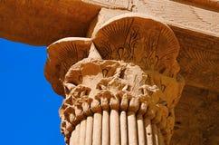 菲莱寺庙部份看法  菲莱寺庙在阿斯旺水坝被折除了并且被重新召集了, Egyp的1970年完成前 免版税库存图片