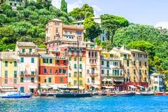 菲诺港,五乡地,意大利 免版税库存照片