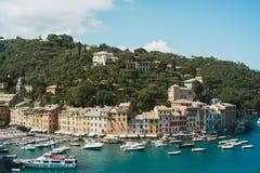 菲诺港,意大利全景  免版税库存图片