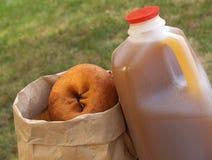 萍果汁油炸圈饼 库存图片