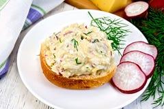 萝卜和乳酪开胃菜在小圆面包在板材有餐巾的 库存图片