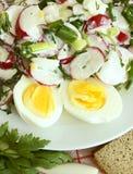 萝卜沙拉用蛋黄酱和鸡蛋。 免版税库存图片
