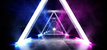 萤光三角金字塔霓虹发光的科学幻想小说紫色蓝色未来派具体空的难看的东西反射性室充满活力的光谱 库存例证