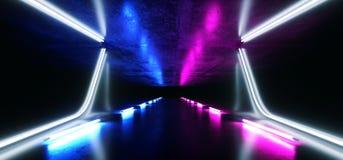萤光减速火箭的科学幻想小说未来派黑暗的充满活力的俱乐部阶段舞蹈隧道走廊指挥台发光的紫色蓝色氖激光带领了光 向量例证