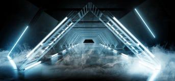 萤光烟雾三角金字塔霓虹发光的科学幻想小说蓝色未来派具体空的难看的东西反射性室充满活力的光谱 向量例证