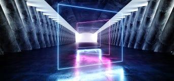 萤光长方形塑造了蓝色激光反射科学幻想小说未来派现代难看的东西混凝土的霓虹发光的充满活力 皇族释放例证