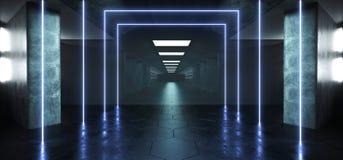 萤光长方形塑造了霓虹发光的充满活力的蓝色激光反射科学幻想小说未来派现代难看的东西具体长 库存例证