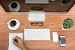 营业所顶视图计算机显示器 免版税图库摄影