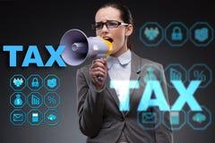 营业税概念的女实业家 图库摄影