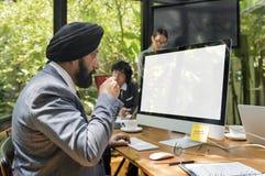 营业通讯公司企业家概念 免版税库存照片