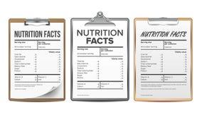 营养事实传染媒介 空白,模板 饮食箱子的卡路里名单 食物内容 肥胖信息 蛋白质体育 向量例证