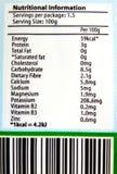 营养信息的标签 免版税库存照片