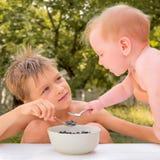营养概念 健康的食物 有机食品 孩子的营养 品尝蓝莓的孩子,当坐在庭院里时 图库摄影