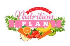 营养计划商标 徽章饮食概念的标志标签 平的设计传染媒介例证 库存例证