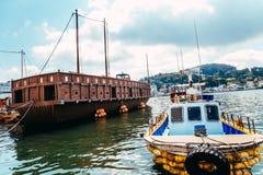 统营市口岸海和李舜臣乌龟运送夏日在韩国 库存图片