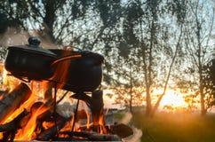 营火在森林里 库存图片