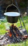 营火食物准备 库存图片