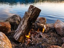 营火,火圆环,沿森林和河在缅因 图库摄影