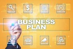 经营计划和战略概念在虚屏上 库存照片