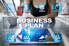 经营计划和战略概念在虚屏上 库存图片
