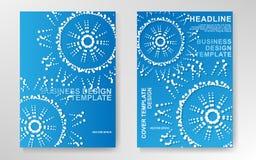 营销传染媒介:与加点的蓝色围绕公司企业介绍的设计 向量例证