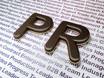 营销概念:在企业背景的PR 免版税库存图片