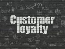 营销概念:在墙壁背景的顾客忠诚 库存例证
