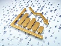 营销概念:在数字式背景的金黄衰落图表 免版税库存照片
