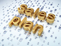营销概念:在数字式背景的金黄销售计划 免版税图库摄影