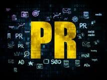 营销概念:在数字式背景的PR 向量例证