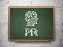 营销概念:有齿轮和PR的头 向量例证